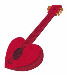 Heart Guitar embroidery design