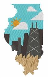 Illinois Scene embroidery design