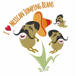 I Love Beans embroidery design