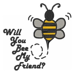 Bee My Friend embroidery design