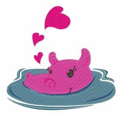 Valentine Hippo embroidery design