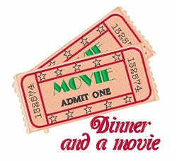 Dinner & Movie embroidery design