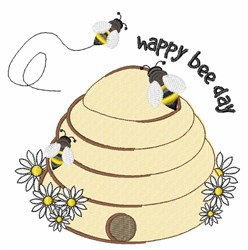 Happy Bee Day embroidery design