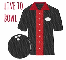 Live To Bowl embroidery design