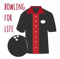 Bowling For Life embroidery design