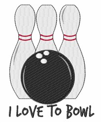 Love To Bowl embroidery design