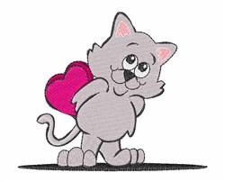 Valentine Cat embroidery design