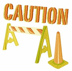 Caution embroidery design
