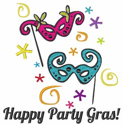 Happy Party Gras embroidery design