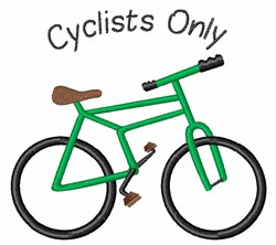 Cyclists Only embroidery design