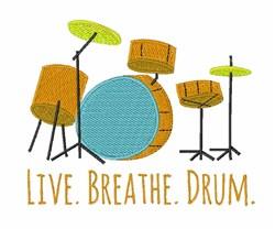 Live Breathe Drum embroidery design