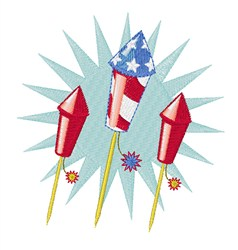 Independence Rockets embroidery design