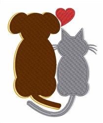 Dog Heart Cat embroidery design