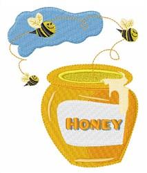 Honey Bee Pot embroidery design