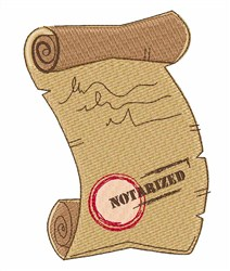 Notarized Document embroidery design