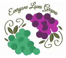Loves Grapes embroidery design