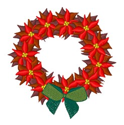 Poinsettia Wreath embroidery design