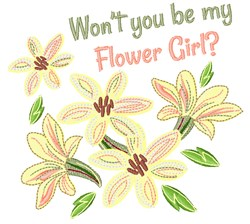 Wont You Be My Flower Girl embroidery design