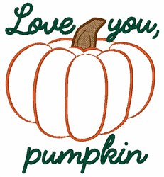 Love You Pumpkin embroidery design