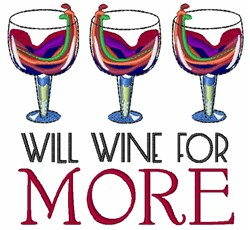 Will Wine For More embroidery design