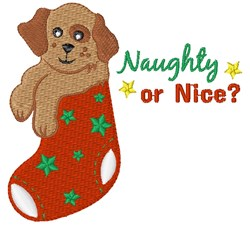 Naughty Or Nice Puppy embroidery design