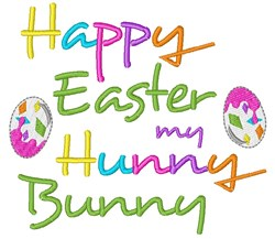 Happy Easter Hunny Bunny embroidery design