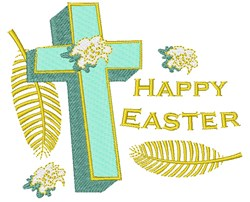 Happy Easter Cross embroidery design