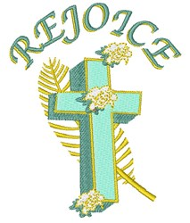 Rejoice Easter Cross embroidery design