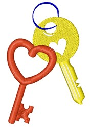 Heart Shaped Keys embroidery design