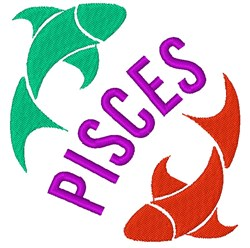 Pisces Fish embroidery design