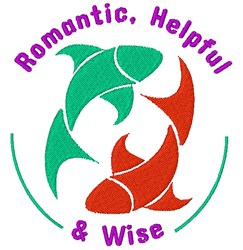 Pisces Romantic, Helpful & Wise embroidery design