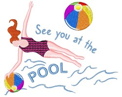See You At The Pool embroidery design