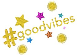 Hashtag Good Vibes embroidery design