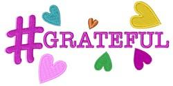 Hashtag Grateful embroidery design