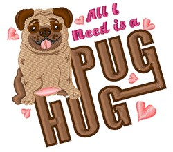 Pug Hug embroidery design