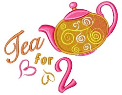 Tea For 2 embroidery design
