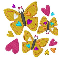 Heart Butterflies embroidery design