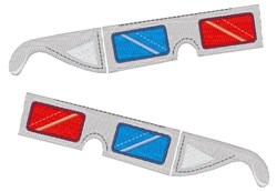 3D Glasses embroidery design