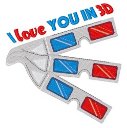 Love You In 3D embroidery design
