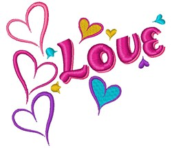Love Hearts embroidery design