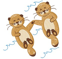 Otters embroidery design