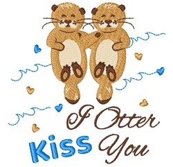 Otter Kiss You embroidery design