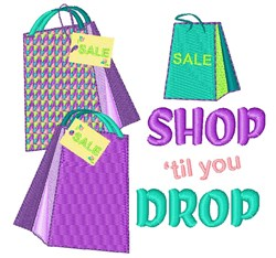 Shop Til You Drop embroidery design
