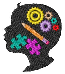 Thinking Head embroidery design
