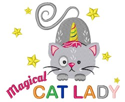 Magical Cat Lady embroidery design