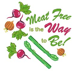 Meat Free embroidery design