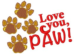 Bear Paw Love You Paw embroidery design