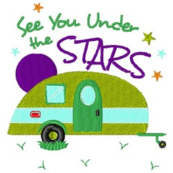 Camper See You Under The Stars embroidery design