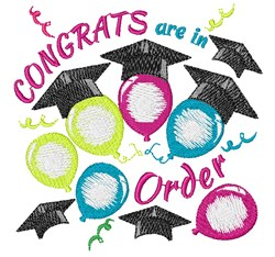 Grad Balloons Congrats Are In Order embroidery design
