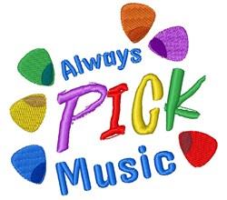 Guitar Picks Always Pick Music embroidery design